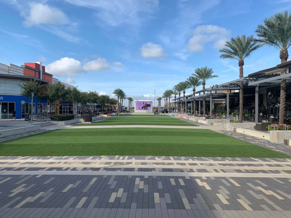 commercial artificial lawn installation