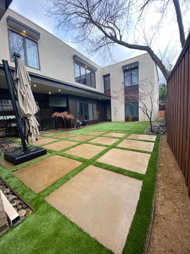 artificial lawn on residential property