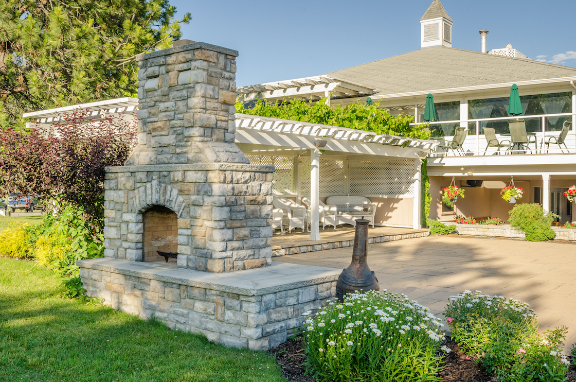 Backyard Patio with Gazebo and Big Brick Fireplace