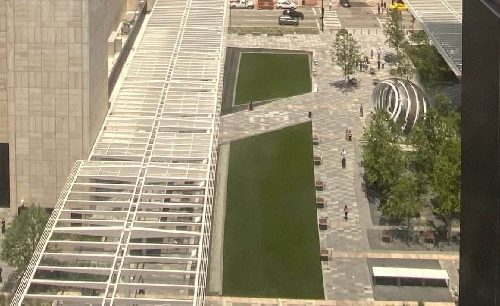 Aerial view of the AT&T Discovery District built with SYNLawn Houston Artificial Turf